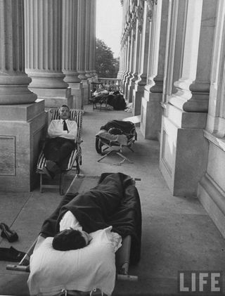 Reporters sleeping outside of the Captiol building the first morning after the first session of Congress.